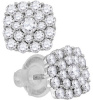 1 CT Diamond Cluster Stud Earrings EG37341-W