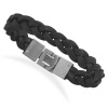 "8.5"" Braided Black Leather Bracelet with Stainless Steel Closure W2091"