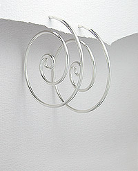 Sterling Silver Circular Design Wire Earrings 54-706-789