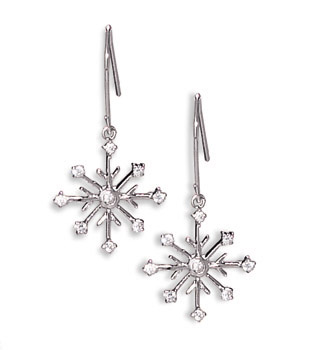Rhodium Plated 8 Point Snowflake Earrings with 9 CZs on French Wire 63215