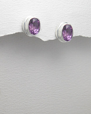 Amethyst & Sterling Silver  Earrings 88-883-71