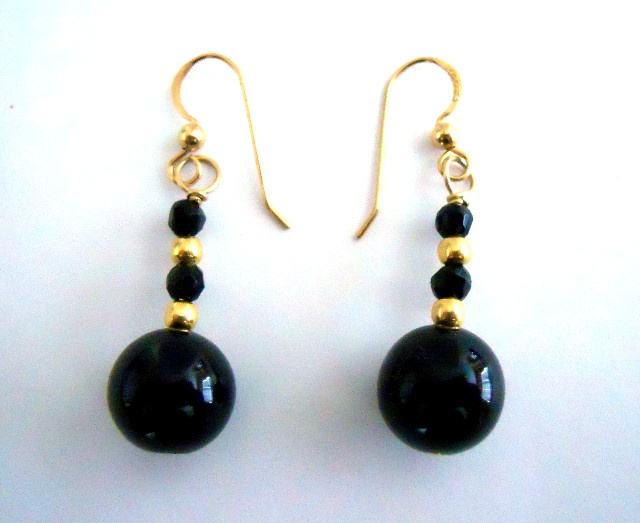 Black Onyx and 14/20 Gold Filled Earrings CSS115E