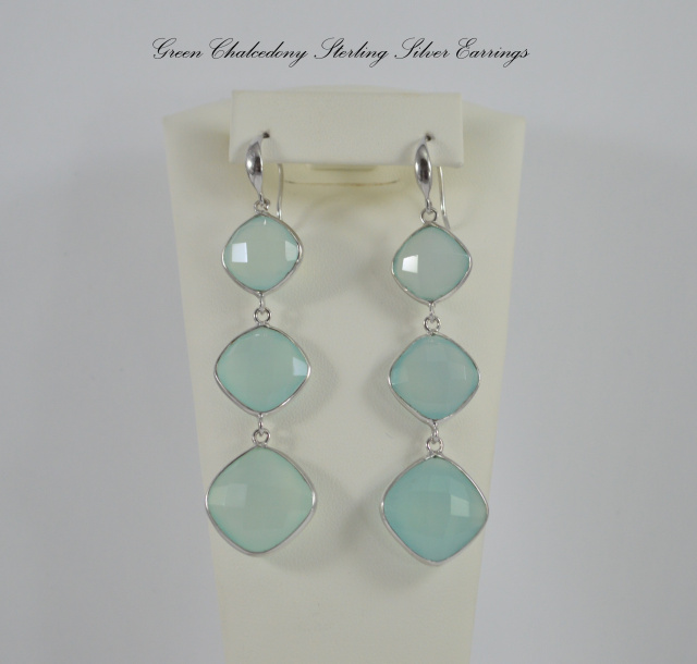 Green Chalcedony Sterling Silver Dangle Earrings CSS467934