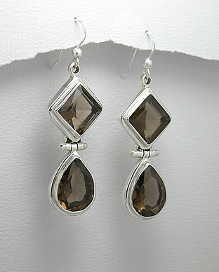Smoky Quartz and Sterling Silver Earrings 88-883-183