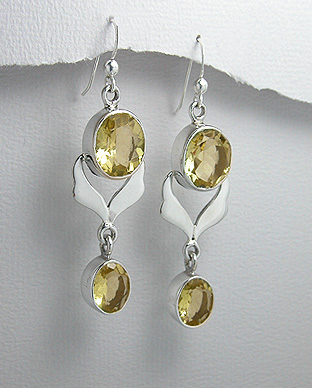 Citrine and Sterling Silver Drop Earrings 88-883-329