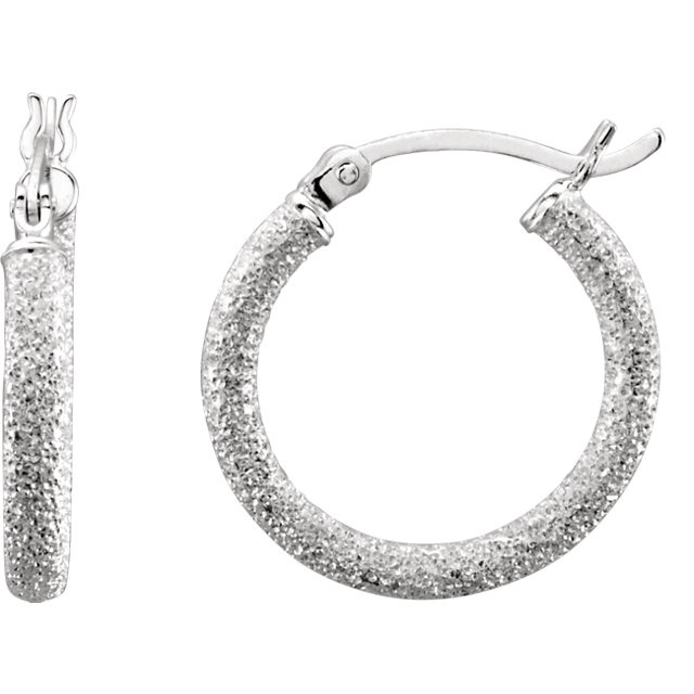 Sterling Silver 25.5mm Sparkling Stardust Hoop Earrings 69094