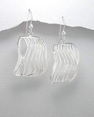 Wave Design Sterling Silver Earrings 54-706-4109