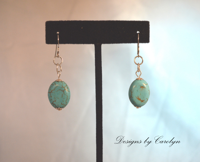 Turquoise Howlite Sterling Silver Dangle Earrings CSS128E