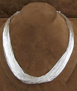 50 Strand Liquid Silver Necklace CSS5030