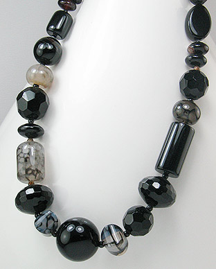 Onyx and Agate Sterling Silver Necklace 51-756-299