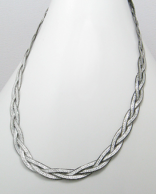 "18"" Sterling Silver Necklace with Rhodium Plating 54-780-327-18"