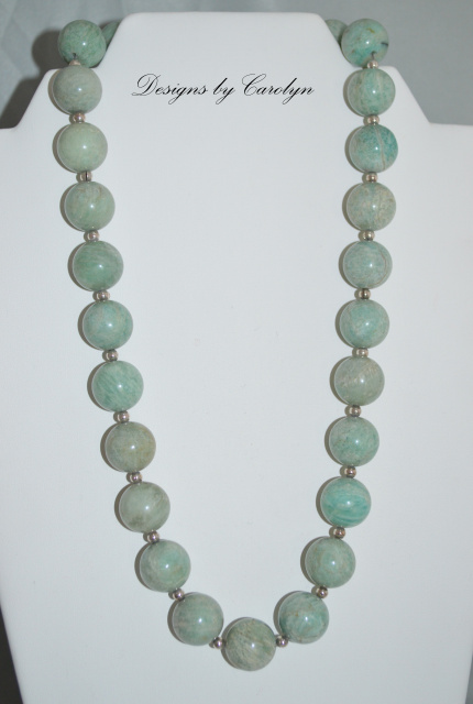 Amazonite & Sterling Silver Bead Necklace  CSS 102 N