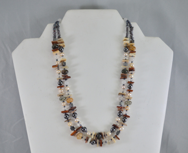 Double Strand Botswana Agate, Carnelian, FWP, MOP & Glass Necklace 51-756-189