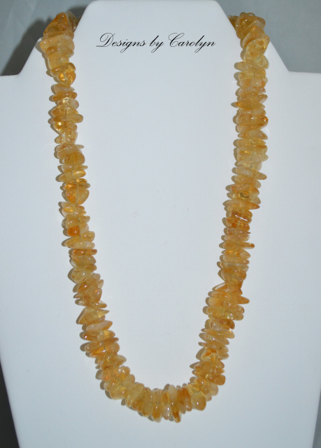Citrine Chips & Sterling Silver Necklace CSS 103-21 N