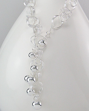 Elegant Ball and Circle Design Sterling Silver Necklace 54-706-3103