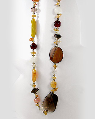 Smoky Quartz, MOP (dyed), Crystal Glass, Red Agate, Citrine, Yellow Jade, White Jade Necklace 50-727