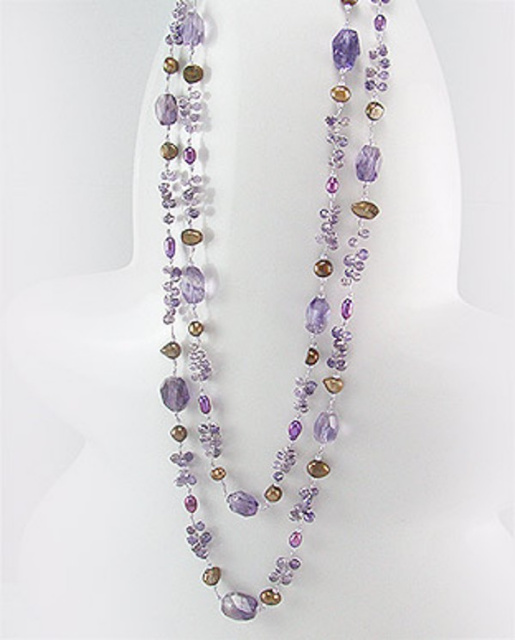 Amethyst & Fresh Water Cultured Pearl Double Strand Necklace 51-756-234