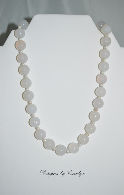Natural Agate & Stardust Sterling Silver Bead Necklace CSS117N