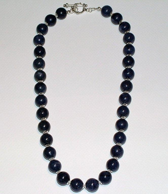 Blue Aventurine & Sterling Silver Bead Cap Necklace CSS 107 N