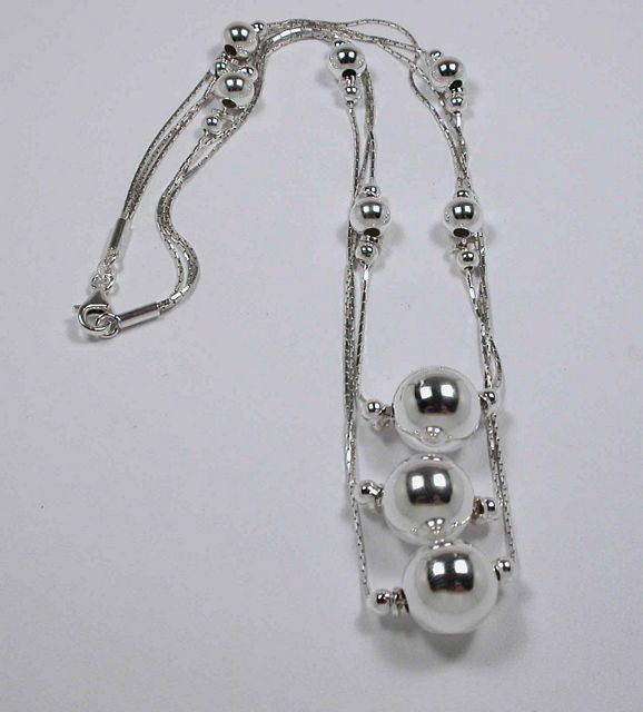 "18"" Cards and Spheres Sterling Silver Necklace CA 776-18 N"