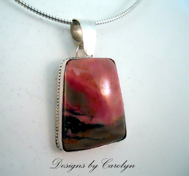 Rhodonite Cabochon Sterling Silver Pendant  CSS290P