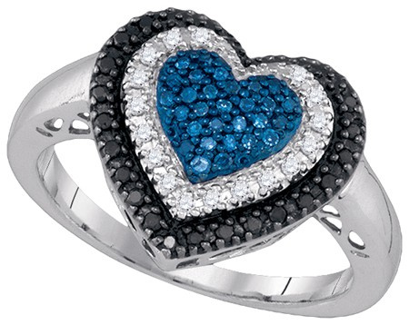 0.27 CT Blue, Black and White Diamond Heart Ring CSSCDFROQ2315/W