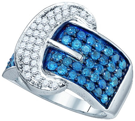 1.88 CTW Blue & White Diamond Buckle Ring CSSRWBA1290/W