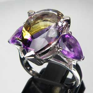 5.77 CT. Ametrine & Amethyst Sterling Silver Ring CSS0842