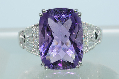 6.47 Ct. Natural Amethyst 14K White Gold Ring  CSS1003