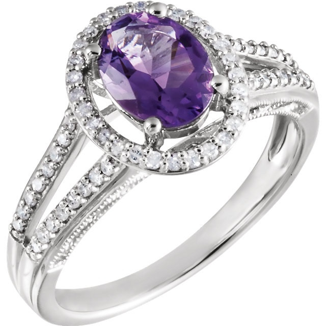 14K White Amethyst & 1/4 CTW Diamond Ring CSS 652866:60001:P