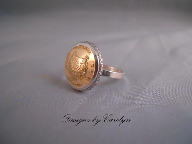 Brass Coin Sterling Silver Ring CSS3286R