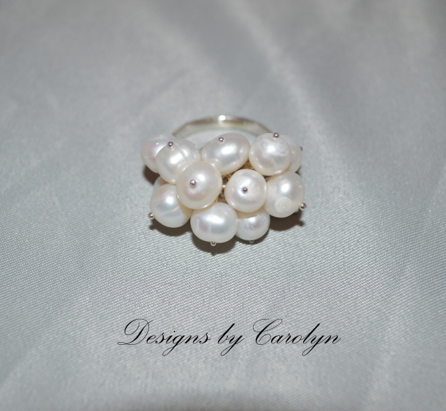 Cluster of Pearls Sterling Silver Ring CSS137R