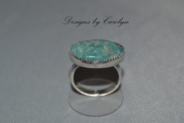 Multi Color Amazonite East/West Sterling Silver Ring  CSS134R