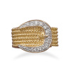 Two Tone CZ Belt Buckle Ring 83039