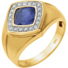 14kt Yellow Men's Created Blue Sapphire & .025 CTW Diamond Ring   651638:100:P